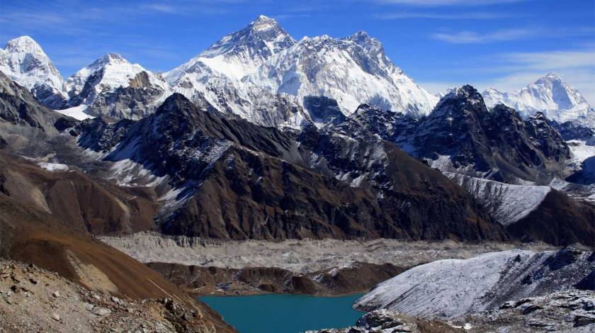Mount Everest and Gokyo Lake from Renjo La Pass