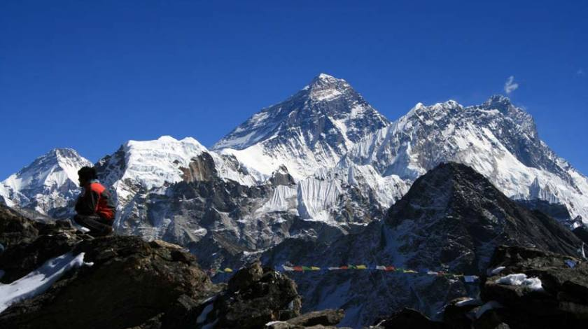 Majestic top of Mount Everest from the Gokyo Peak