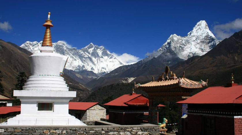 Everest View and Mt. Ama Dablam from Tyangboche