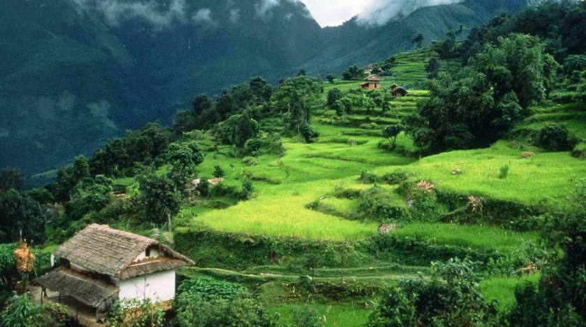 Green landscapes and typical lifestyle of Arun Valley