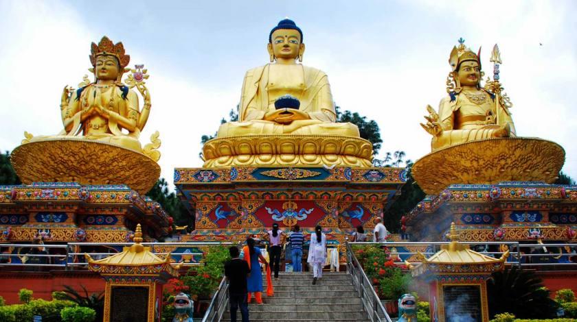 Three Buddha Statue of Avalokiteshvara, Amitaba Buddha and Padmasambhava (left to right) at Swayambu