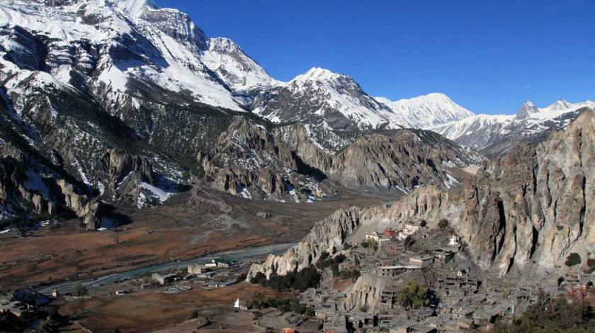 Manang Valley on the lap of Annapurnas