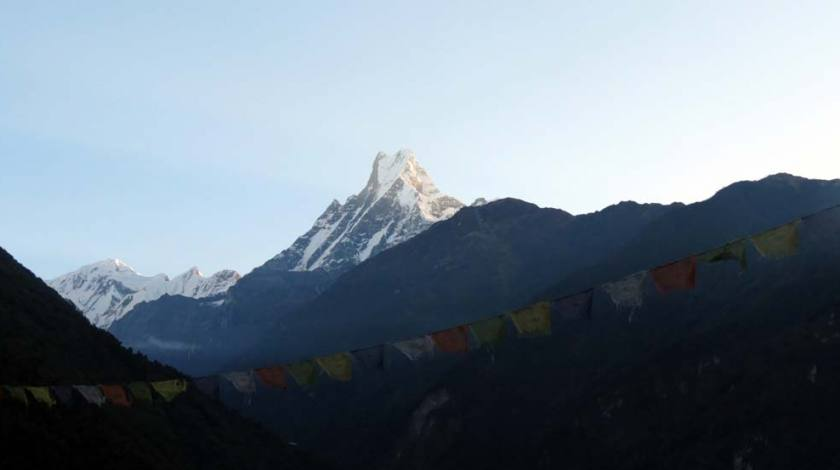 Prayers Flag with Mount Machapuchhere (Fishtail) on background