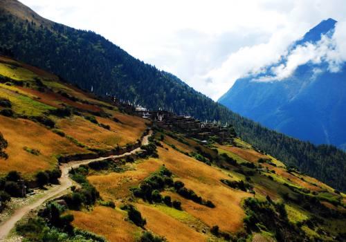 Walking around pleasant landscapes towards beautiful village