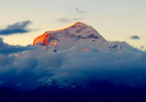 Golden rays on the top of world seventh highest Mt Dhaulagiri